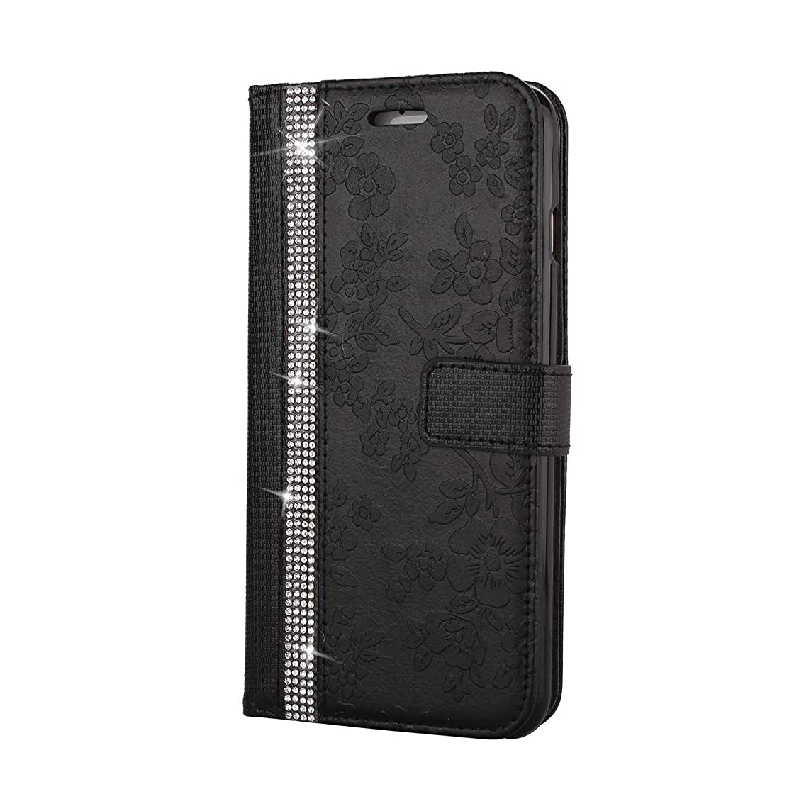 脅迫トライアスリート食物CUNUS iPhone 6 Plus/iPhone 6S Plus 用 ウォレット ケース, プレミアム PUレザー 全面保護 ケース 耐衝撃 スタンド機能 耐汚れ カード収納 カバー, ブラック