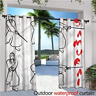 warmfamily Japanese Indoor/Outdoor Single Panel Print Window Curtain Samurai Katana Asian Silver Grommet Top Drape W120 x L108