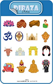 Sticker Bollywood Indian Taj Mahal Hindi Characters Laptop Books Gift Decoration Sticker for All Occasions 16 Figures 2 Sheet