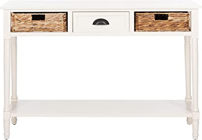 Amazon Com Safavieh Home Collection Christa Distressed White 3 Drawer Storage Console Table Home Kitchen