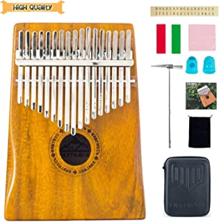 EastRock Kalimba 17 Keys Thumb Piano, with EVA High-Performance Protective Box and Hand-Rest Curve Design Kalimba,Easy to Learn Portable Instrument Gifts for Kids Adult Beginners(Mbira Acacia/Koa)