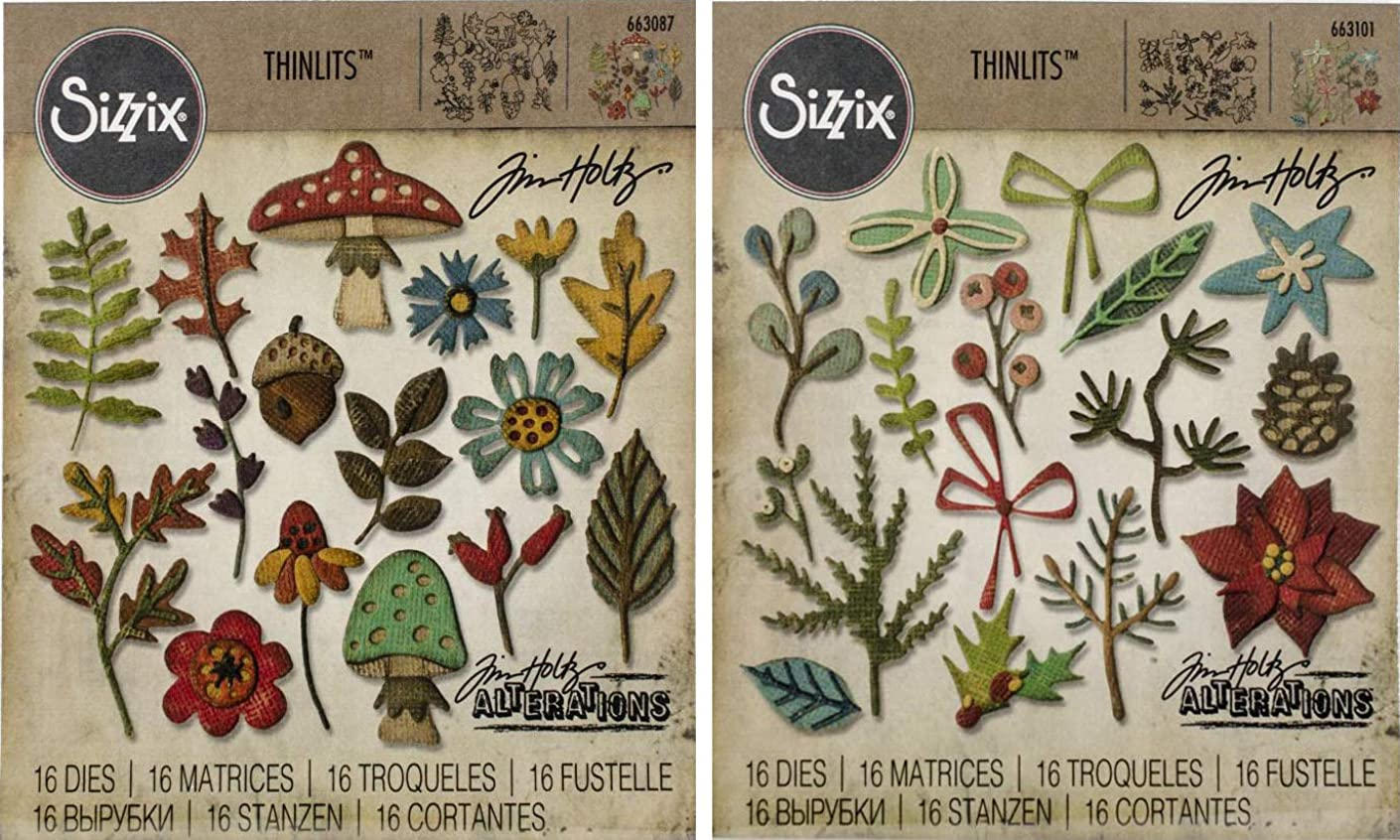 Tim Holtz Sizzix Thinlits Dies - Funky Foliage and Funky Festive - 2 Items