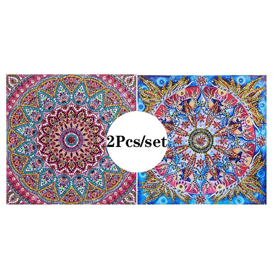 VV&BAOZI Pack of 2 Pieces Special Shaped Diamond Painting Mandala Stitch Paint by Number Kits for Adults and Kids(Canvas Size 9.84''×9.84'')
