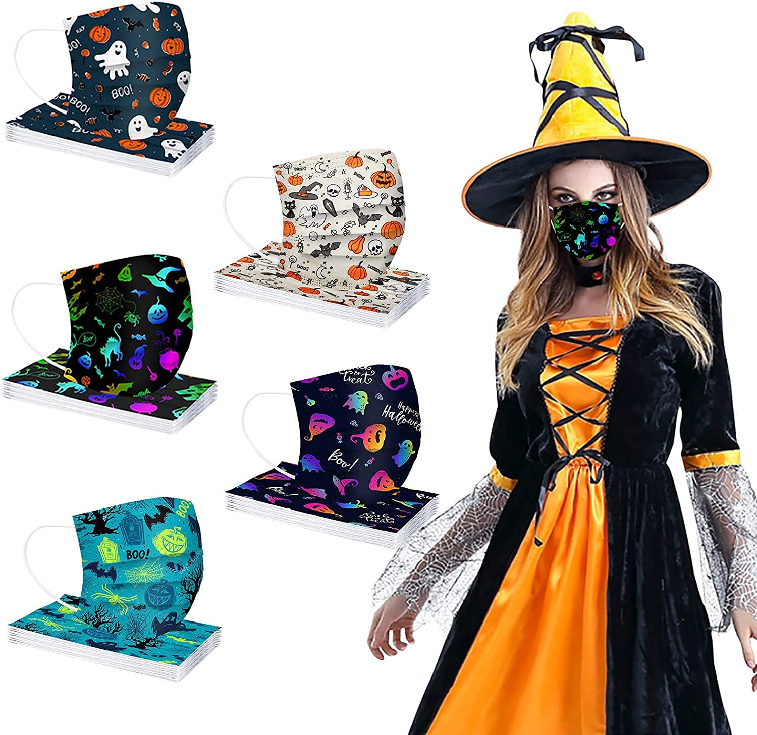 50PCS Halloween Time sale Disposable Face_Mask Max 67% OFF Adults Printed Pumpkin for