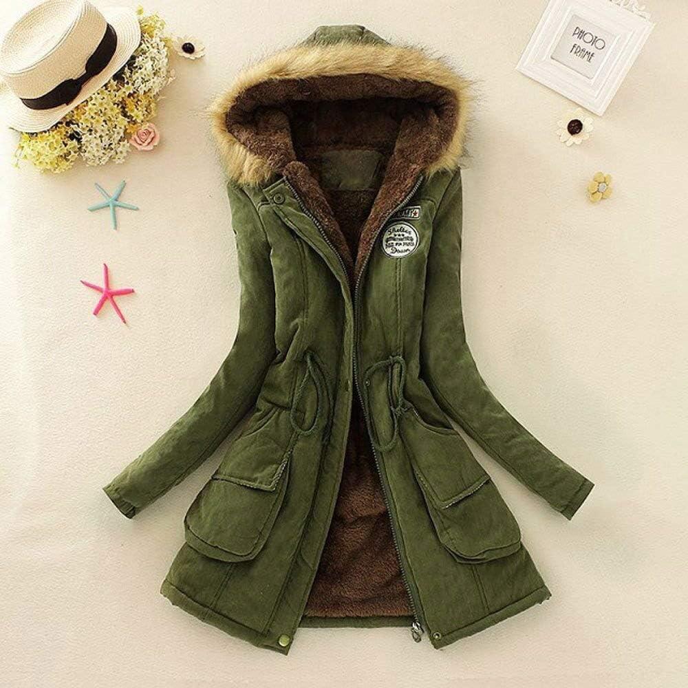Adelina Damen Mantel Top Women Warm Long Coat Fur Collar Hooded Jacket Fashionable Completi Winter Parka Outwear Strickjacke Tops Armeegrün