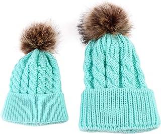SANON Parent-Child Hat Mother Child Baby Warm Winter Knit Beanie Fur Pom Hat Crochet Ski Cap for Women & Baby