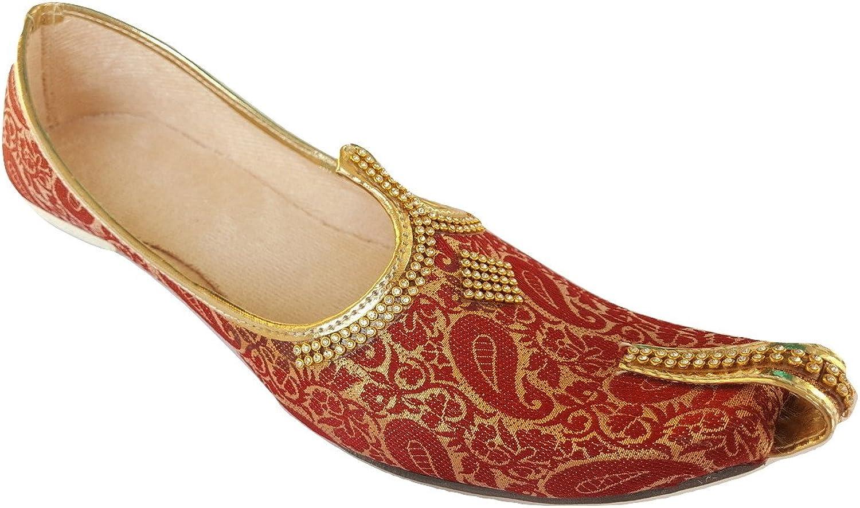 Aura Mens Punjabi Jutti Traditional Indian Khussa Flat shoes Ethnic Mojari UK Size 7-12 Amber Star