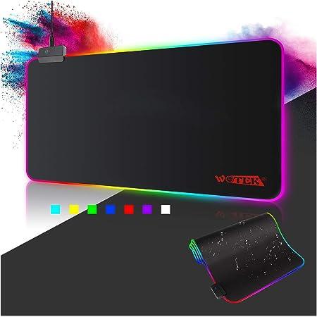 WOTEK RGB Tappetino per il Mouse Gioco XXL Tappeto di Mouse per Gamers Extra Grande Tappeto Mouse e Tastiera Gaming Mousepad Antiscivolo Impermeabile per Computer, Laptop - 800x300mm(14 Modalità Luce)