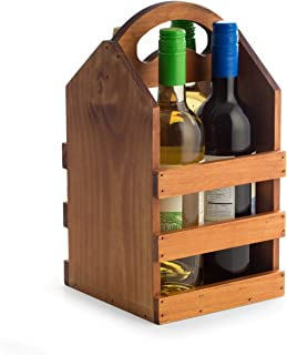Hipster Brown Solid Wood Wooden Four Bottle Wine Tote Holder Caddy Carrier