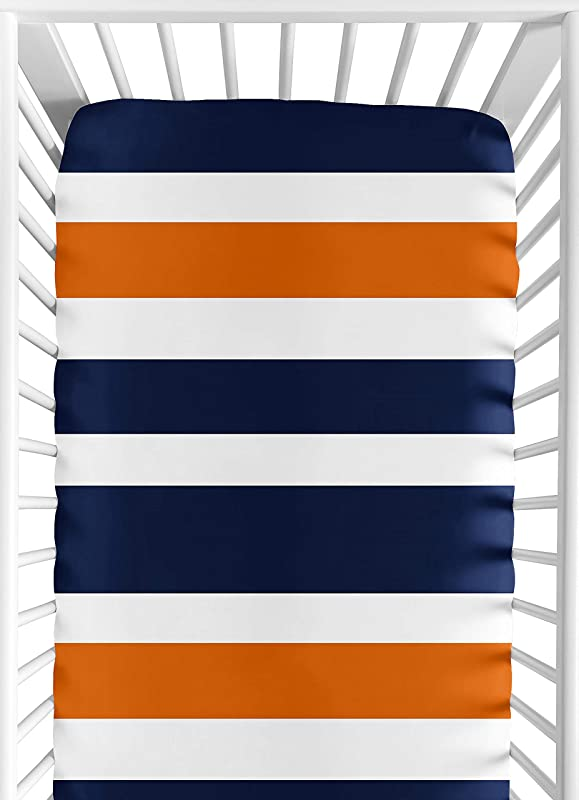 Sweet Jojo Designs Fitted Crib Sheet For Modern Navy Blue And Orange Stripe Baby Toddler Bedding Stripe Print