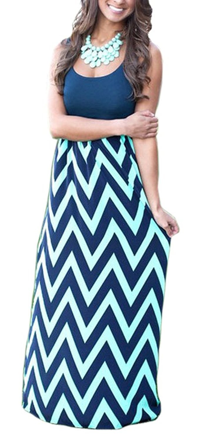 Available at Amazon: shangke Women's Zig Zag Scoop Neck Wave Striped Tank Maxi Long Dress