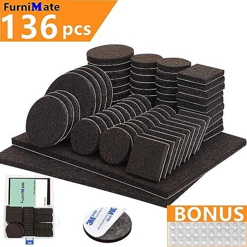 Furniture Pads 136 Pieces Pack Self Adhesive Felt Pads Brown Felt Furniture Pads Anti Scratch Floor