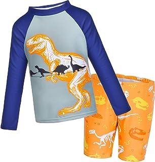 Sylfairy Boys Two Piece Rash Guard Swimsuits Kids Long Sleeve Sunsuit Swimwear Sets Bathing Suit,Yellow Dinosaur