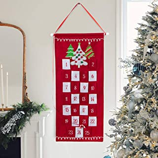 S-DEAL Red Christmas Advent Calendar 2019 Countdown to Christmas Cloth Wall Hanging with 25 Pockets for Xmas Holiday Decorations 14x31 Inch