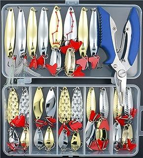 Fishing Lures Hard Spoon Metal Lures Hard Bait 32 pcs Set Saltwater Fishing Pliers Fishing Lure Metal Jig Treble Hooks Tac...