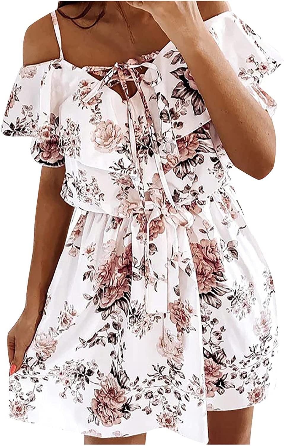 Womens Dresses for Summer Lace Up Cold Shoulder Floral Swing Short Dress Cute Beach Dresses That Hide Belly Fat