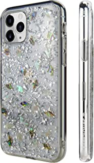 SWITCHEASY iPhone 11 Pro Case Flash Floral iPhone Hard Case Back Cover for Girls, Transparent Clear Flexible Rubber Pressed Real Genuine Dried Flowers and Seashell (Conch, 2019 iPhone 5.8