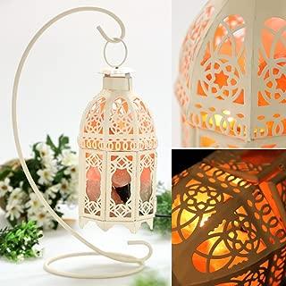 Himalayan Salt Rock Lamp Vintage Hanging with Lantern Holder Cage Dimmer Control Switch (White)