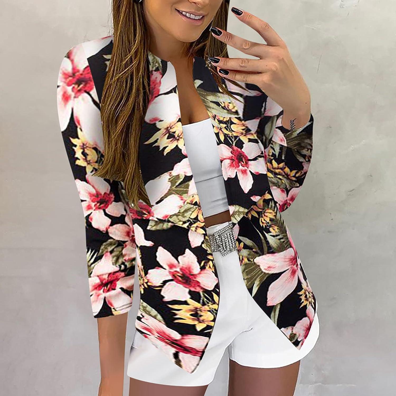 Xinantime Women's Crop Blazers 3/4 Sleeve Slim Cardigan Turn Down Collar Jacket Ladies Work Office Suit Formal Coat