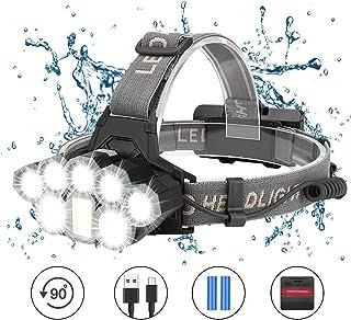 Coquimbo - Linterna frontal LED, USB recargable, linterna frontal, lámpara de cabeza, 2000 lúmenes, 8 modos de luz, ideal para correr, pesca, camping, senderismo, ciclismo (2 pilas 18650 incluidas)