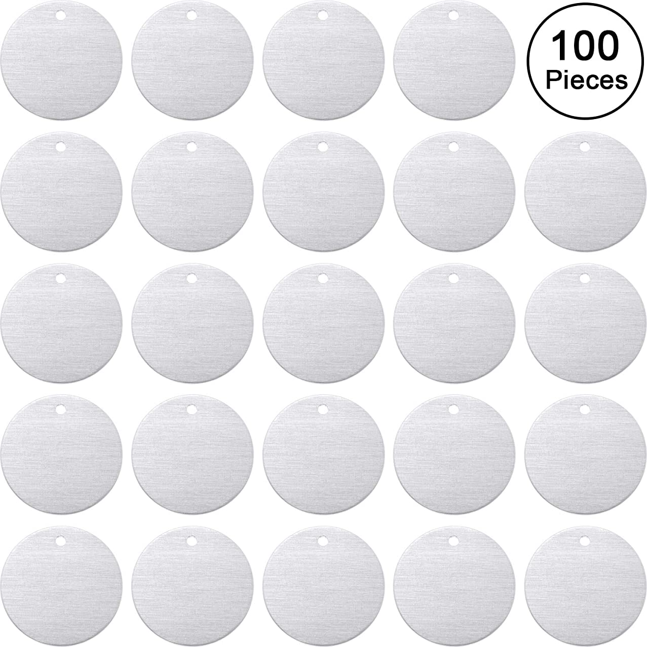 Stamping Blank Tags, 1 Inch Round with Hole Aluminum 0.06 Inch Thickness Blanks Tags (50)