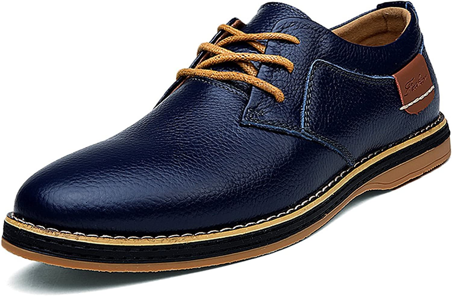 TSIODFO Casual Oxford shoes Men Formal shoes for Men Cow Leather Oxfords Navy bluee Men Business shoes Size 7.5 (6111Navybluee40)