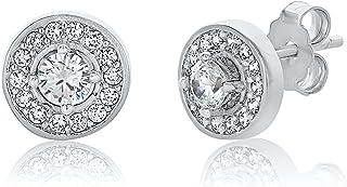 Montage Jewelry Women's Circle Shape Sterling Silver & Cubic Zirconia Bridal Stud Earrings