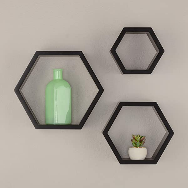 Gallery Solutions Black HexaGallery Geometric Decorative Set Of 3 Wall Mounted Floating Shelves