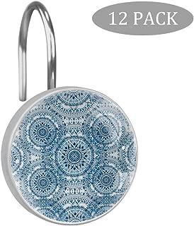 BOLIMAO - 12 Ganchos para Cortina de Ducha con diseño Bohemio Azul, Cristal y Acero Inoxidable, Resistentes a la corrosión, Ganchos de Ducha para Cuarto de baño o habitación de niños