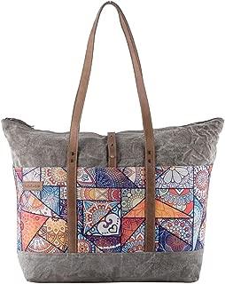 Sixtease Vibrant Upcycled Canvas & Genuine Leather Weekender Bag SB-2244