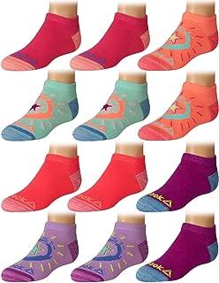 Girls' Flat Knit Comfort Athletic Low Cut Socks (12 Pack)