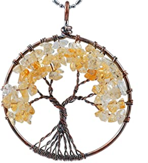 SUNYIK Tumbled Gemstone Tree of Life Pendant Necklace for Women Men
