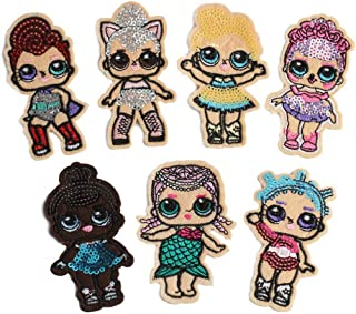 7 Pcs Cartoon Surprise Doll Cute Girl Mermaid Applique Embroidered Patches for Clothes DIY Iron on Sequined Patch