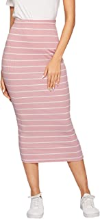 SheIn Women's Casual Ribbed Knit Letter Print Waist Striped Bodycon Pencil Midi Skirt