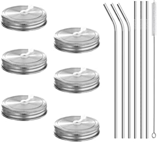 6pcs Pack 18/8 Stainless Steel Regular Mouth Mason Jar Lids with Straw Hole, Including 6pcs Stainless Steel Straws and 1pcs Cleaning Brush, Compatible with Ball & Kerr Mason Jars