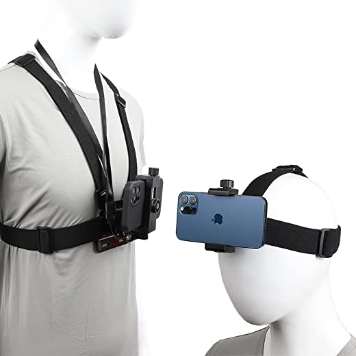 Mobile Phone Chest Strap Harness Mount Head Strap Holder Kit for POV/VLOG,Cell Phone Clip Compatible with iPhone,Samsung,GoPro Hero 9, 8,7, 6, 5, 4,, 3,2, 1,AKASO,DJI Osmo,and Action Cameras