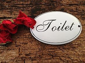 Antiek - Toiletdeurplaatje, toiletbord, aanwijzing toilet, email, wc-bord