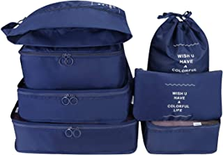 7 Set Packing Cubes Travel Luggage Waterproof Organizers - 3 Travel Cubes + 3 Pouches + 1 Shoe Bag