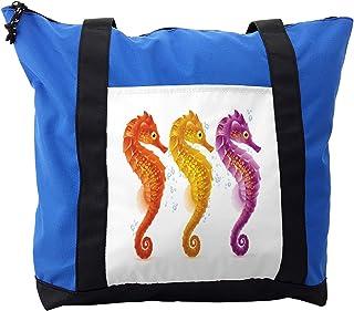Ambesonne Nautical Shoulder Bag, Seahorse Marine Tones, Durable with Zipper