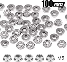 Swpeet 100Pcs M5 304 Stainless Steel Serrated Metric Flange Nuts Hex Lock Nuts Assortment Kit, 7 Sizes - M3 M4 M5 M6 M8 M10 M12