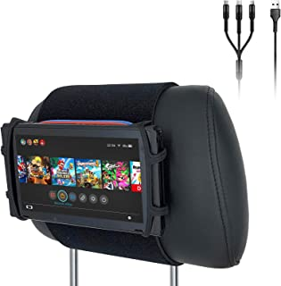 Car Headrest Mount Silicon Holder for Nintendo Switch Console, iPad Mini, Kindle Paperwhite with 3-in-1 USB Cable (Neon Re...