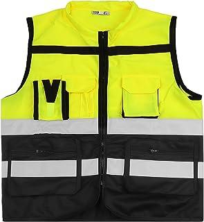 ShyaWorld Chaleco Reflectante de Seguridad Adulto Trabajo con bolsillos de Alta Visibilidad. Cintas Reflectivas y Ligeros. Ideal para trabajo. Tallas de Adulto.