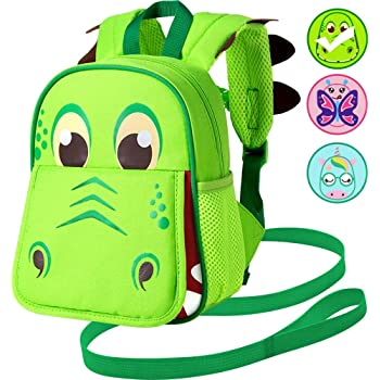 """Toddler Backpack Leash, 9.5"""" Safety Harness Dinosaur Bag - Removable Tether"""