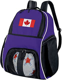 Broad Bay Canada Flag Soccer Backpack or Volleyball Bag Purple