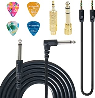 SUNYIN Electric Guitar Cable,10-Feet Guitar Amp Cord Straight to Right Angle for Instruments,Gold Plated 3.5mm&6.5mm Stereo Adapter,Audio Cable(Black),4 Picks