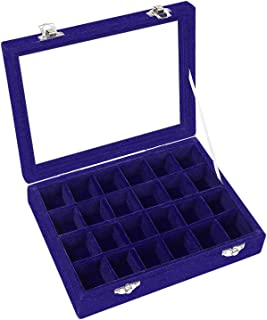 Pasutewel Velvet Glass Ring Jewellery Display Storage Box Jewelry Holder Storage Organizer Stand (Blue-(24 Grids))