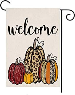 MFGNEH Pumpkins Welcome Double Sided Waterproof Fall Decorations Garden Flag Burlap Yard Banner Lawn Thanksgiving Outdoor ...