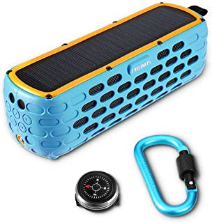 PRUNUS T-63(Upgraded) Solar Powered Bluetooth Speaker, 35 Hours Playtime Portable Outdoor Stereo Music Player, IPX65 Water, Dust Resistance and 6.5 feet Drop Proof with Emergency Flashlight (Blue)