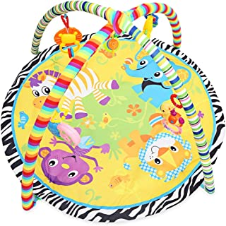 BISOZER Deluxe Baby Play Gym, Cartoon Animal Carpet, Play Gym,Baby Activity Gym, Play Mat, Tummy Time and Sensory Development Educational Playtime Mat, for Infants Care Newborn Boy and Girl Mats