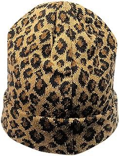 Womens Winter Hats Unisex Leopard Print Cuffed Beanie Soft Warm Slouchy Cap Hat (Yellow)